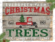 Country Christmas Tree Farm Primitive Sign by WAGlacierGraphics