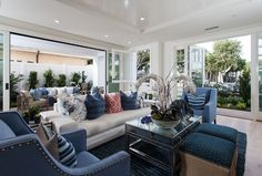 Cape Cod California Beach House with Blue and White Interiors