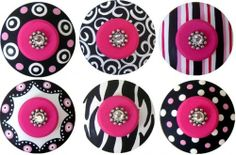 6 Black White & Hot Pink Hand painted Jeweled Drawer Knobs Pulls