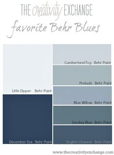 Behr makes some of the best blue paint colors out there. See these colors in action on walls. bedroom paint colors Why Behr Paint Blues are My Favorite Blues Best Blue Paint Colors, Behr Paint Colors, Blue Gray Paint, Interior Paint Colors, Paint Colors For Home, House Colors, Behr Exterior Paint Colors, Navy Paint, Neutral Paint