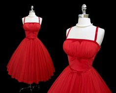Vintage 1950s Cherry Red Chiffon Velvet Shelf Bust Cocktail Party Dress S