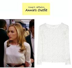 "On the blog: Annie Walker's (Piper Perabo) speckled print white silk blouse | Covert Affairs - ""Vamos"" (Ep. 401) #tvfashion #outfits #fashion #premiere"