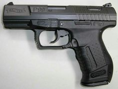 9. Walther P99 :   It is black high strength polymer, canyon swing type, similar to Browning Colt, which makes it swing down from the chamber when backing up the slide, allowing align the ramp to the chamber with the first cartridge charger correct spare power failure. It is a weapon that has no external hammer, which gives a great advantage when shooting speed and ease of transport