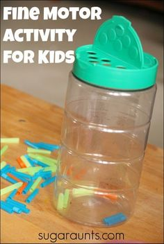 Straws and a grated cheese container are a fun way to play and work on fine motor skills with kids.