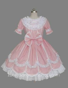 Lolita Pink Cotton White Lace Doll Collar Ruffles Bow Short Sleeves Sweet Princess Dress
