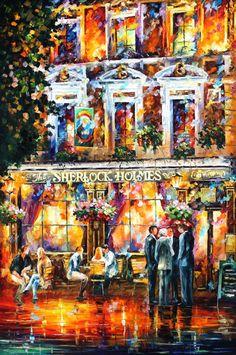 Sherlock Holmes Palette Knife Cafe In London by AfremovArtStudio