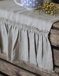 TABLE RUNNER ruffled table runner gray soft linen table