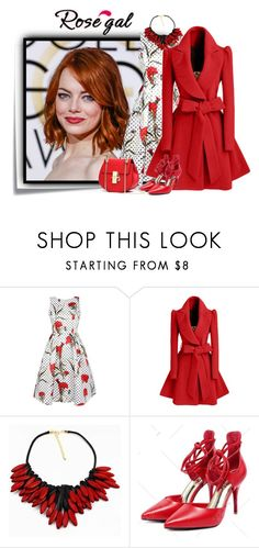 """""""rosegal 6"""" by elenb ❤ liked on Polyvore featuring Post-It, WithChic, vintage, dress, women and rosegal"""