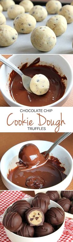 chocolate chip cookie dough truffles are so easy you're going to feel like you're cheating.These chocolate chip cookie dough truffles are so easy you're going to feel like you're cheating. Candy Recipes, Baking Recipes, Sweet Recipes, Cookie Recipes, Dessert Recipes, Dessert Food, Baking Ideas, Pasta Recipes, Cookie Dough Truffles