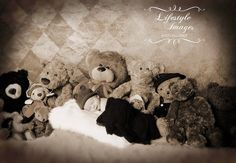 Taken by Lifesyle Images in the studio, photo of one week old infant surrounded by teddy bears supplied by the photographer, with backdrop. We can make sure the newborns are comfortable on and wrapped in blankets.  Lifestyle Images, Conroe, Texas, The Woodlands, Spring, Willis, Montgomery County, Indoor studio photography, baby newborn infant sessions, teddy bears, stuffed animals, sepia toned picture, professional pictures