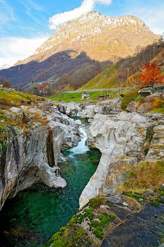 """Valle Verzasca. A nice view of this valley in Tessin [Switzerland]."" Photo by Tambako the Jaguar, via Flickr.  I'm astonished at the colors in the large view of this photo!!"