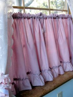Vintage Cafe Curtains, Frills, Window Curtain, Dusty Rose, Pink,