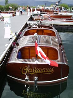 """Curvaseous"" is Robert and Madeleine Mount's 1938 Greavette Streamliner. Make A Boat, Float Your Boat, Old Boats, Small Boats, Wooden Speed Boats, Chris Craft Boats, Classic Wooden Boats, Wooden Boat Building, Vintage Boats"