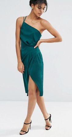 Emerald green satin midi dress.  New dresses for fall 2016.