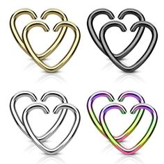 Value Packs 4 Pairs Plated Heart Cut Rings 316L Surgical Steel WildKlass for Cartilage/Tragus/Daith and More