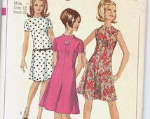Uncut, Misses Size 12, Vintage 1960s Sewing pattern, Jiffy Simplicity 7161, Woman, Teen, Dress, A-Line, Raised Neckline, Sleeveless, Easy