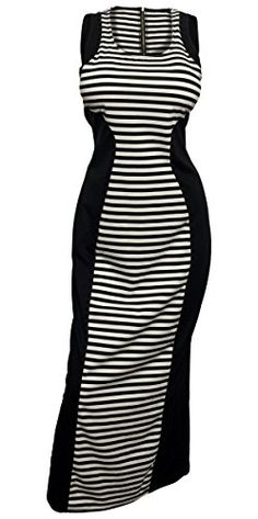 5077a99168f eVogues Plus Size Maxi Dress Black Stripe Print - 1X eVogues Apparel http