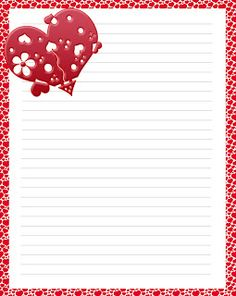 Letterine per San Valentino Printable Lined Paper, Free Printable Stationery, Stationery Templates, Cute Stationery, Stationery Paper, Cute Writing, Writing Paper, Borders For Paper, Note Paper