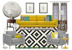 """bright yellow sofa - grey cut & loop carpet with black/white diag area rug, accent chairs, black framed prints (jon's sild screens)"