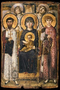 thingsthatringtrue:    Virgin (Theotokos) and Child between Saints Theodore and George, sixth or early seventh century, encaustic on wood,  (St. Catherine's Monastery, Sinai, Egypt)