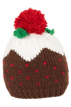Holly and Berries Cuffed Pudding Crochet Hat Pattern 2014 Christmas - Christm...