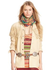 Suede Fringed Shirt from Polo by Ralph Lauren - Crafted from luxe distressed suede, this rugged Western shirt is designed with swingy fringe and antiqued, buffalo-embossed shank closures. A wonderful addition to any western wear or boho chic outfit!