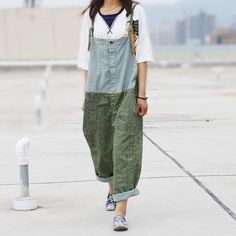 Cheap jeans product, Buy Quality jean tote directly from China trousers skirt Suppliers: Women Patchwork Denim Jumpsuits ladies 2016 Fashion Overalls Splcing Pants Trousers Female Loose Pants Jeans Denim Jumpsuit, Denim Overalls, Patchwork Denim, Denim Overall Dress, Pantalon Large, Ankle Length Pants, Loose Pants, Mode Inspiration, Jumpsuits For Women