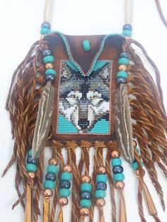 Native American Gray Wolf Portrait With Turquoise Background Beaded On A Rich Dark Saddle Buckskin Medicine Bag By LJ Greywolf