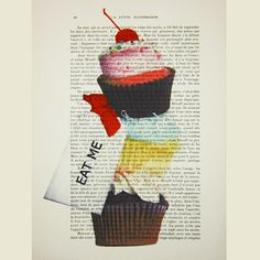 Eat Me Cupcakes - ORIGINAL ARTWORK Hand Painted Mixed Media on 1919 famous Parisien Magazine 'La Petit Illustration' by Coco De Paris