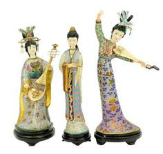 Three CLOISONNÉ and IVORY Maiden Figures. 20th c.