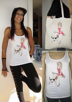"""גזע ALICE מותגי כלב טי """"N"""" Tote Combo של. על מגוון גדול של החולצות אופנתיות של נשים באיכות גבוהה וטי של. שחור, לבן וצבעים כפי שמוצג. http://etsy.com/uk/shop/AliceBrands ... ... http://www.alicebrands.co.uk"""
