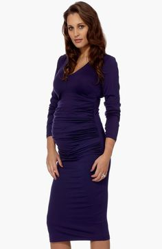Ruched Maternity Midi Dress