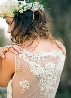 Sheer dress back with detailing | Photography: Cinzia Bruschini - cinziabruschini.it  Read More: http://www.stylemepretty.com/little-black-book-blog/2014/05/27/bohemian-wedding-inspiration-in-tuscany/