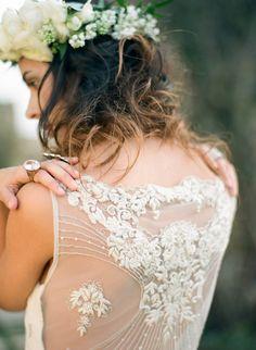 Sheer dress back with detailing | Photography: Cinzia Bruschini - cinziabruschini.it  Read More: http://www.stylemepretty.com/little-black-book-blog/2014/05/27/bohemian-wedding-inspiration-in-tuscany/