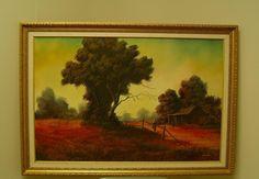 "Framed Original Oil Painting Signed Bucolic Landscape D. Donald A. Gibbs 24x36"""
