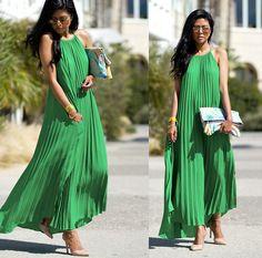 Green Pleated Maxi Dress, Nude Pumps, Palm Tree Clutch