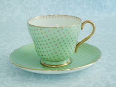 Mint Green Teacup and Saucer with Gold Star Chintz by Shelley China / Antique Gold Star Chintz on Green Tea Cup and Saucer
