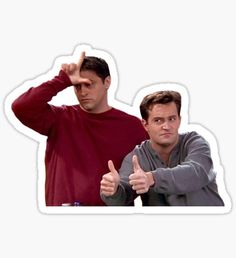 """""""Chandler Bing Joey Tribbiani Friends"""" Stickers by knowyourrights Stickers Cool, Bubble Stickers, Meme Stickers, Phone Stickers, Printable Stickers, Macbook Stickers, Joey Tribbiani, Chandler Bing, Snapchat Stickers"""