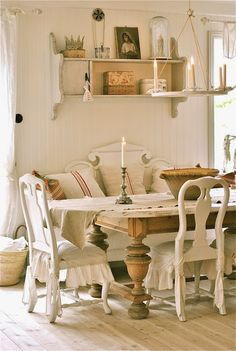 So much to like here - love wall shelves, also on other pics like table runner, and colander on wall hook
