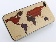 World Map Inlay iPhone 4/4S Wood Skin