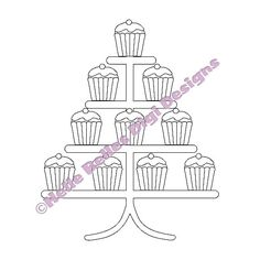 Instant Download Cupcakes Stand Digi Stamp by HelleBellesDesigns, £1.00