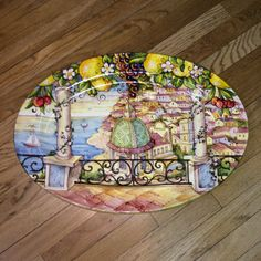 Oval Seaside Balcony View Hand Painted Italian Ceramic Platter - Product Image