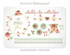Shabby Chic Roses Digital Clipart for Scrapbooking & Branding - Instant Download - 2-1 March 31, 2014 at 04:45PM