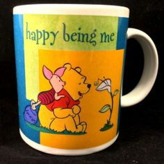 "DISNEY WINNIE THE POOH MUG ""HAPPY BEING ME"" PIGLET COFFEE CUP"