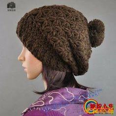 Crochet slouch hat; nice cluster stitch pattern!! CARAMELO ARDIENTE es... LA PRINCESA DEL CROCHET: gorrito