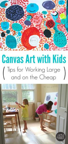 How to do large-scale canvas art with kids. Tips for facilitating the process, working large, using acrylics, and doing it all inexpensively. via Artful Parent Preschool Art Activities, Painting Activities, Creative Activities, Creative Kids, Group Art Projects, Projects For Kids, Crafts For Kids, Painting For Kids, Art For Kids