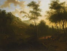 Frederik de Moucheron AN EXTENSIVE ITALIANATE LANDSCAPE WITH MOUNTED TRAVELLERS IN THE FOREGROUND, A RIVER WITH FISHERMEN AND A CASTLE BEYOND