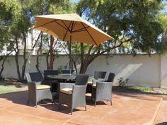 BuildDirect – Dining Sets - Wicker Medium (Ideal for 6 Seats) – Ritz Sunbrella Dining Set - Outdoor View