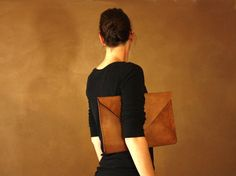 Oversized Leather Clutch with removable shoulder strap by NaturalDesignCrafts