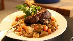 Pot-roast hogget with barley - hairy bikers best of british